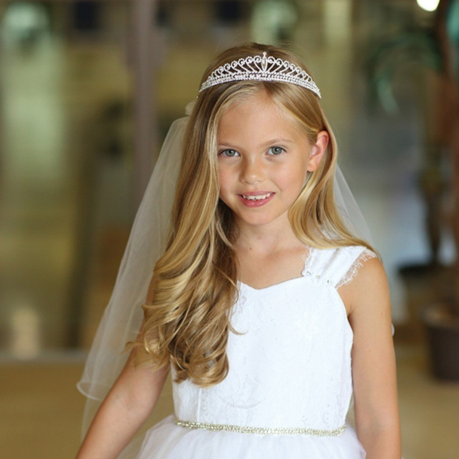 Angels Garment Girls White Pencil Edge Communion Flower Girl Tiara Veil