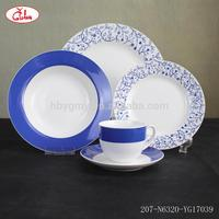 Round shape full decor dinner table set 6 chairs with blue flower pattern (YG17039)