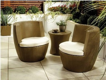 RATTAN GARDEN FURNITURE CHAIR VASE SET STACKING PATIO CONSERVATORY OUTDOOR