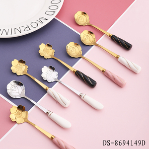 Valentine's day popular gold plated stainless steel tea spoon coffee spoon with Sakura and Rose shape handle design