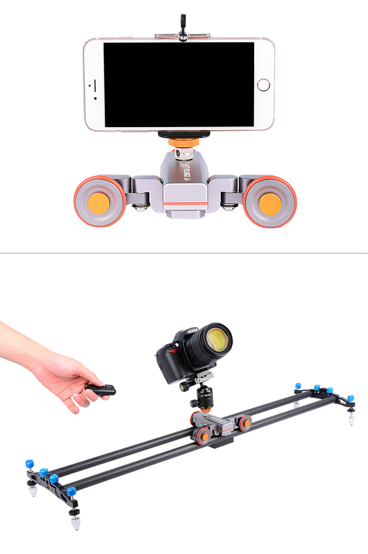 YELANGU Newly Camera 3-wheel dolly Motered Slider for DSLR Camera ,Smartphone