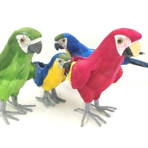 Artificial Decorative Handmade Foamed and Feathers Colorful Parrot Birds