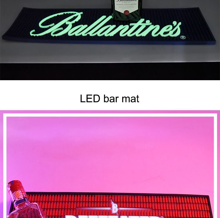 OEM manufacturing custom beer drink branded logo pvc led bar mat for party