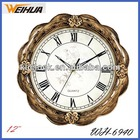 12 inches country style wall clock with antique wave frame