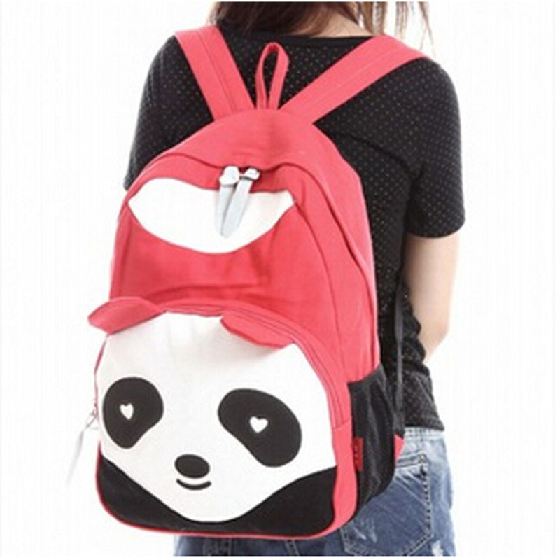 Get Quotations · Girl Canvas Women s Panda Backpack School bag Campus  Backpack Panda Bag Fashion Preppy Cartoon Sports Backpacks 6347760401241