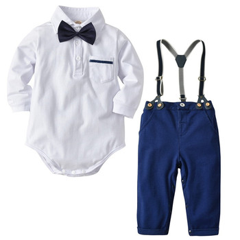 f1600378feddc 2019 Fashion formal baby boys clothing set little gentleman clothes 3 pc  outfit (romper shirt