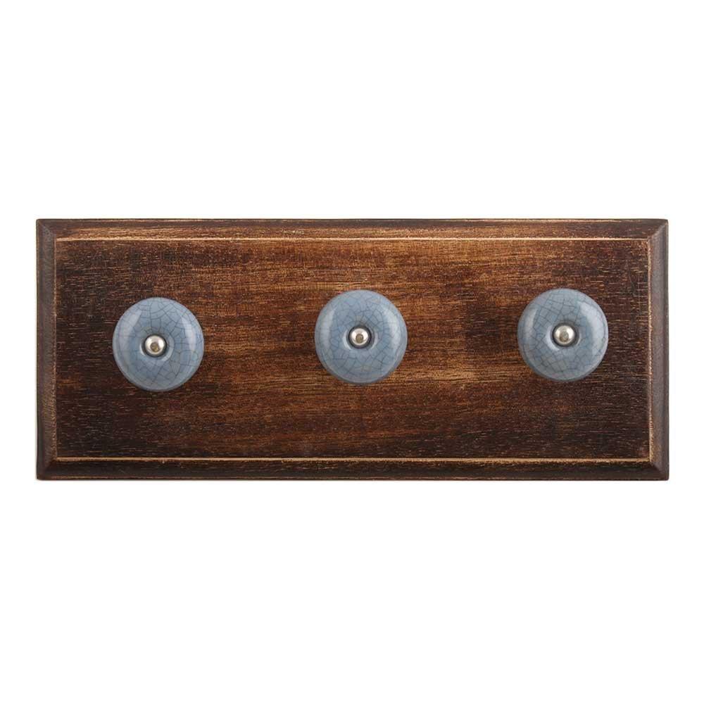 IndianShelf Handmade 3 Piece Grey Crackle Wooden Wall Hooks Cloth Coats Hangers Key Accessories Holders Online WHK-1326-CRACK-78-3