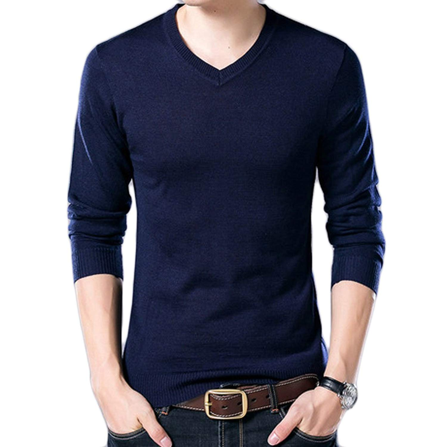 UUYUK-Men Fashion V Neck Solid Slim Fit Knitted Pullover Sweater