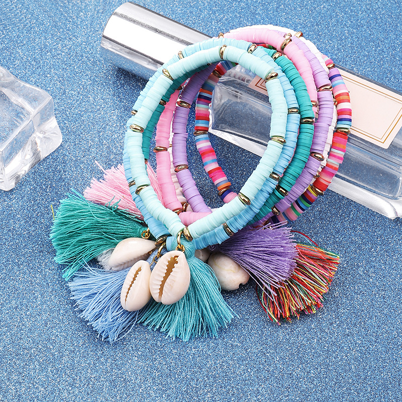 Multi Color Custom Rainbow Resin Bohemian Jewelry Soft Ceramic Bead Tassel Shell Bracelet