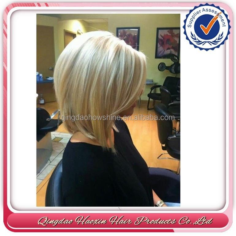Cheap 27/613 Mix Blonde Short Wigs Bob Wigs With Bangs