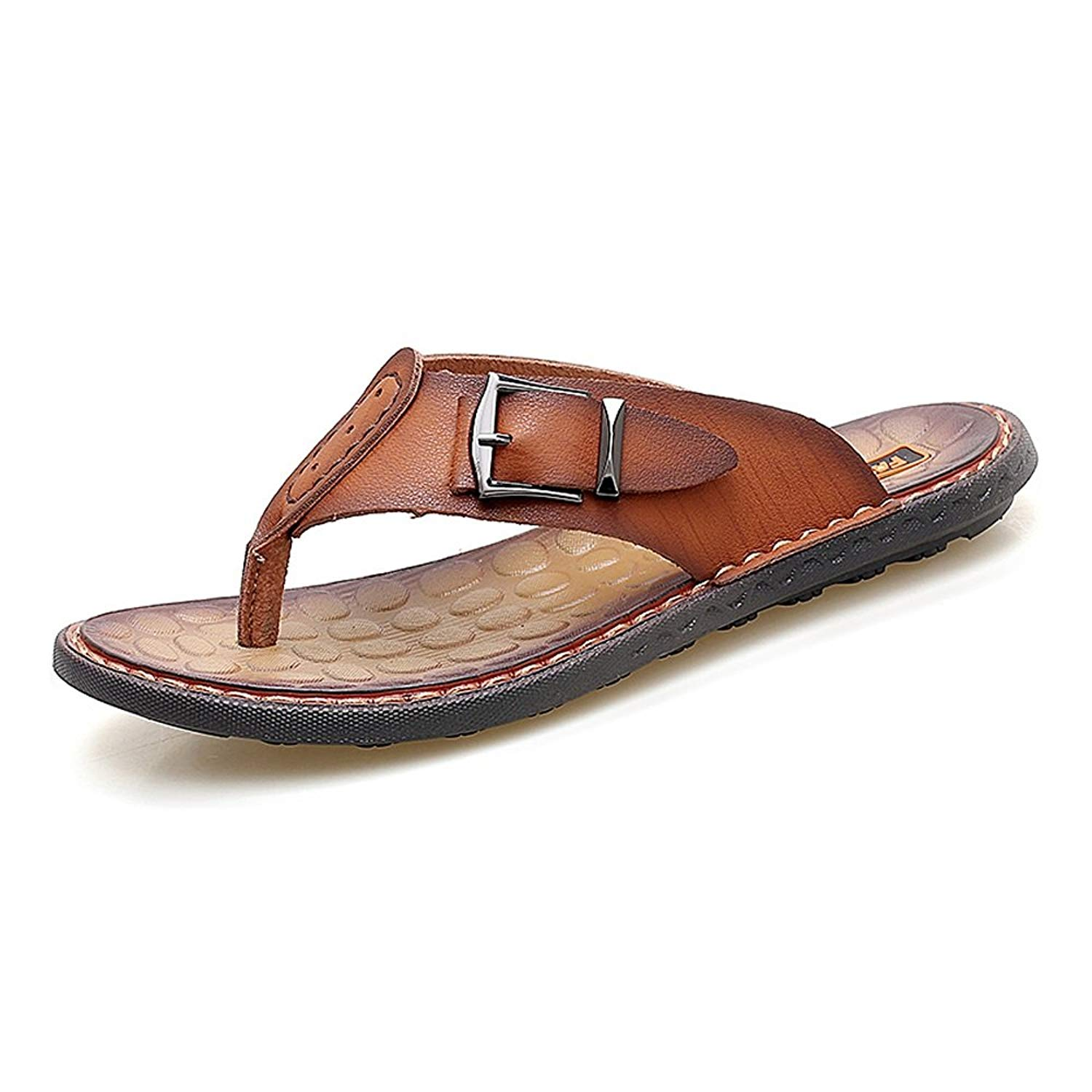 644f662003c265 Get Quotations · CNBEAU Men s Flops Thongs Sandal Slippers Casual Shoes  Genuine Leather Beach Slippers Non-Slip Soft