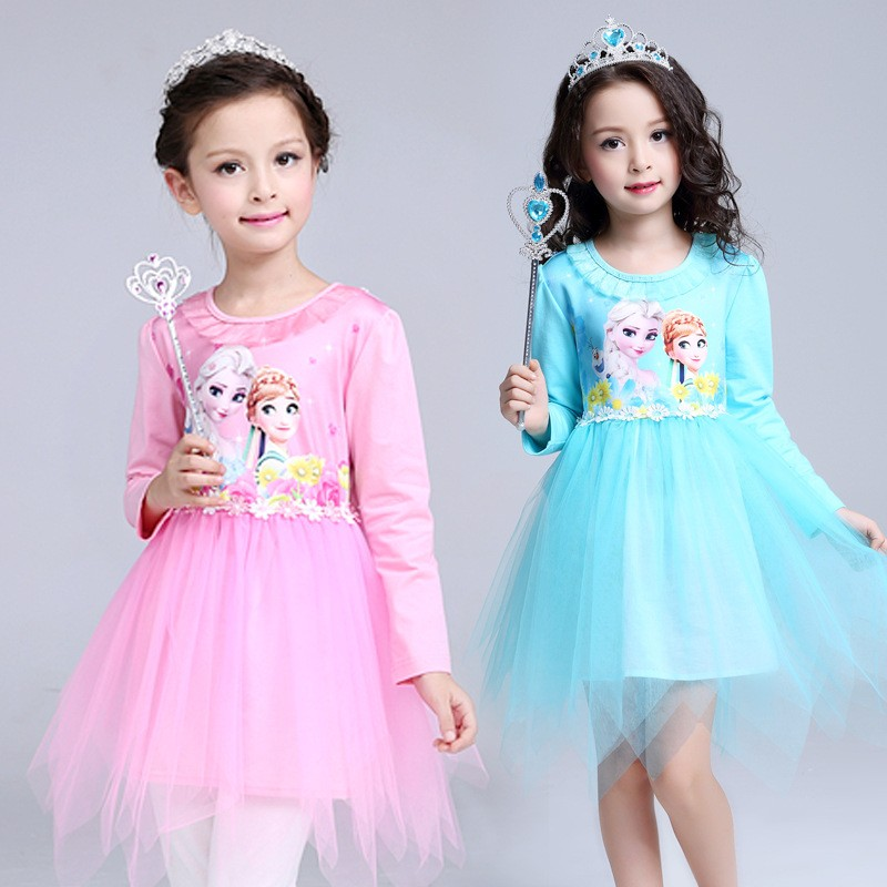 wholesale) 2018 Frozen Elsa Anna Dress Up Gown Costume Ice Princess ...