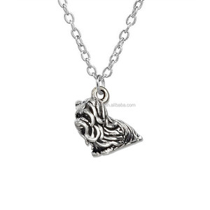 Pewter Antique Silver Metal Yorkshire Terrier Dog Pendant Necklaces For Dog Lover