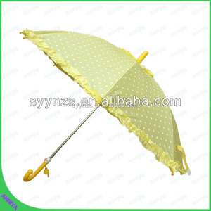Chinese Straight manual open Cute Cotton Lace Parasol Wedding Umbrella