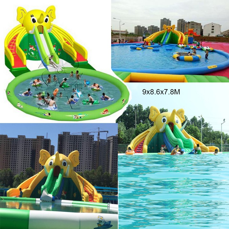 Outdoor Inflatable Amusement Park Water Slide And Pool For ...