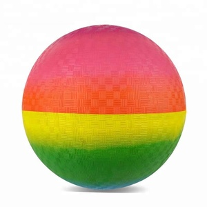 "Inflated natural rubber balls rainbow playground ball 8.5"" for kids playing"