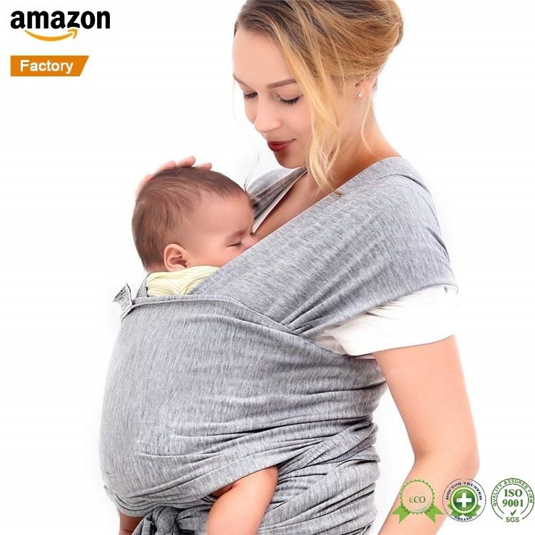 100% Organic Cotton Grey Color 조절 수유할 입고 간호 Cover 유아 아기에 Sling 링 Baby Wrap Carrier Set