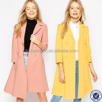 Plus Size Women Clothing Swing Fit Coat Pleated Back Ladies Trench ...