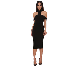 Fashion Womens Backless Bandage Bodycon Evening Sexy Party Cocktail Dress Black Peplum Maxi Dress With Drop shoulder Long Dress