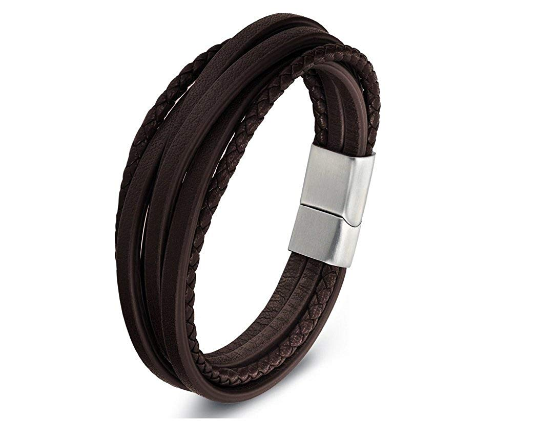 Zen Styles Men's Leather Bracelet, Multi-Strand Braided Cuff Bracelet, Stainless Steel Magnetic Clasp, Premium Quality