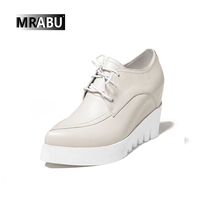 Wedges Lace-up Platform Beige Deep open Pointed toe skid-proof Woman shoes