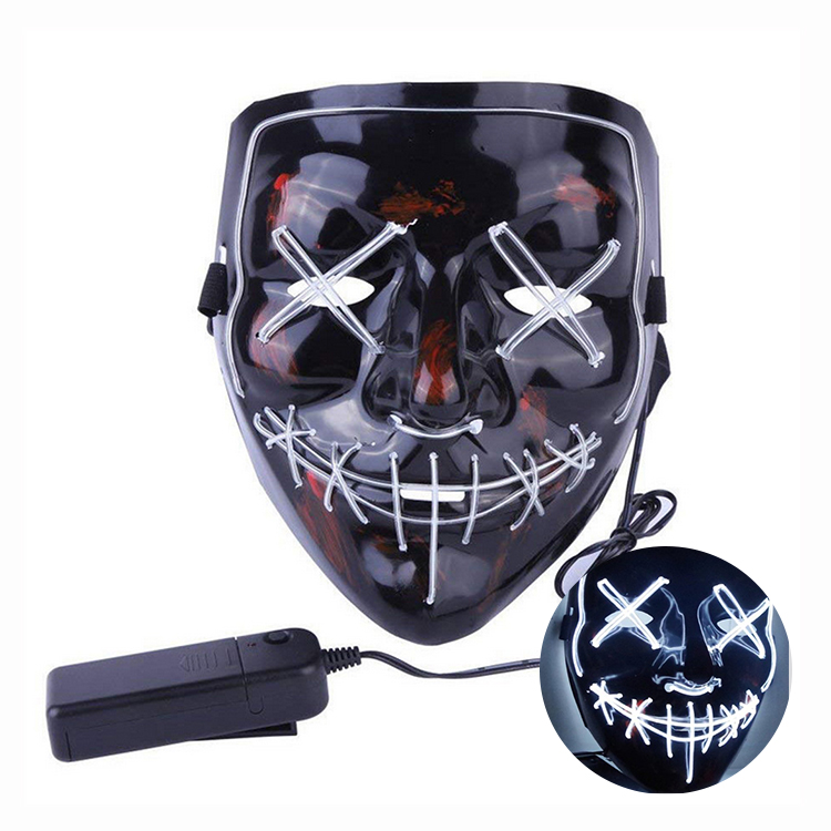 Halloween Mask Masquerade Carnival Party Rave Led Light Up Neon El Wire Mask For Festival Parties Costume