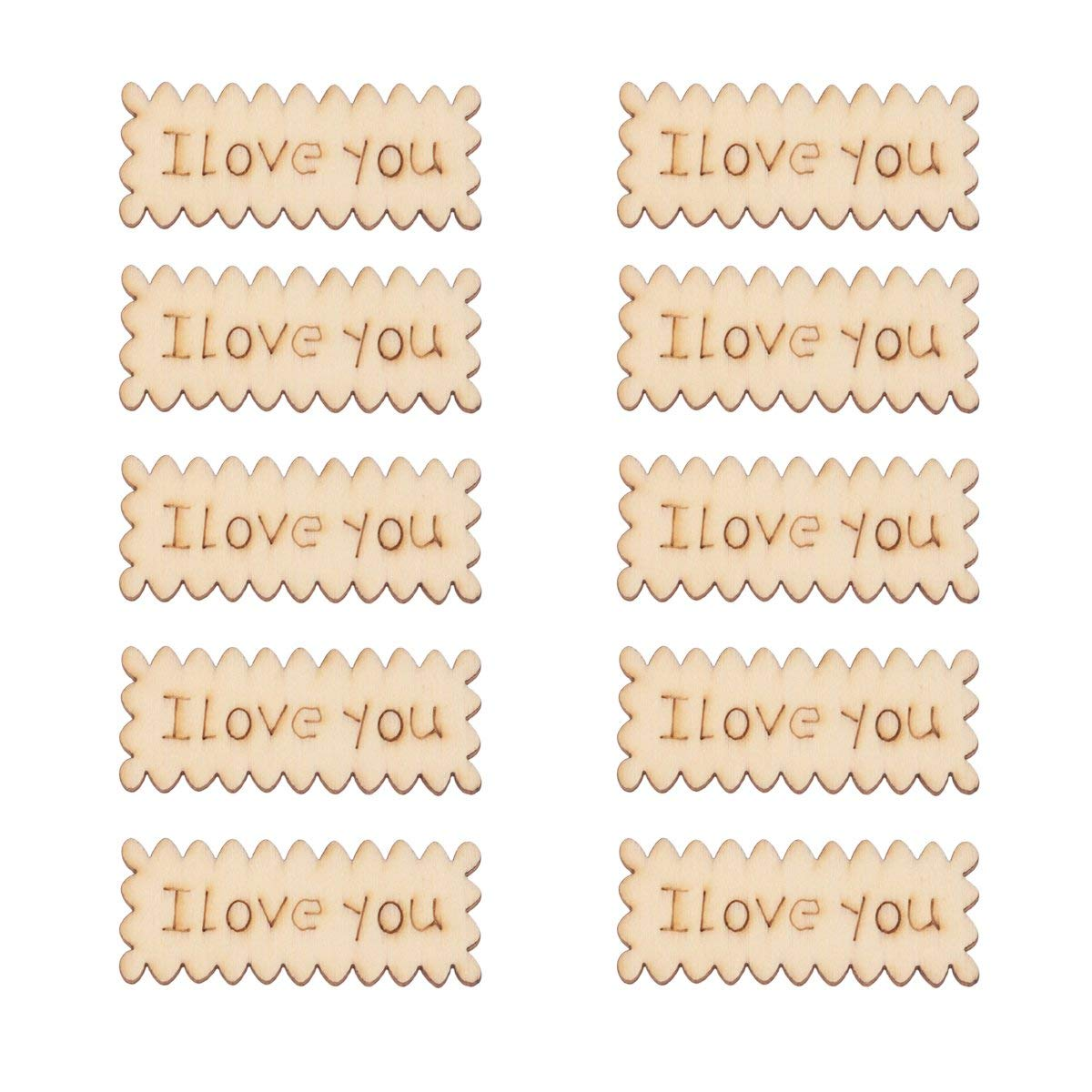 LUOEM 10PCS Wooden Craft Embellishment I Love You Cutout Veneers Slices For Patchwork DIY Crafting Decoration Christmas Tree Pendants Hanging Ornaments Wood Tag For Wedding Party
