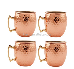 Moscow Mule Copper Mug 16 OZ Copper Plated Double Wall Hammered Mug with Stainless Steel Lining