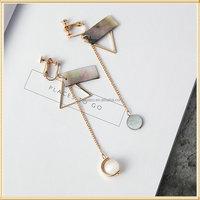 Custom dissymmetry wholesale tassel earrings for non pierced ears 24k gold earrings