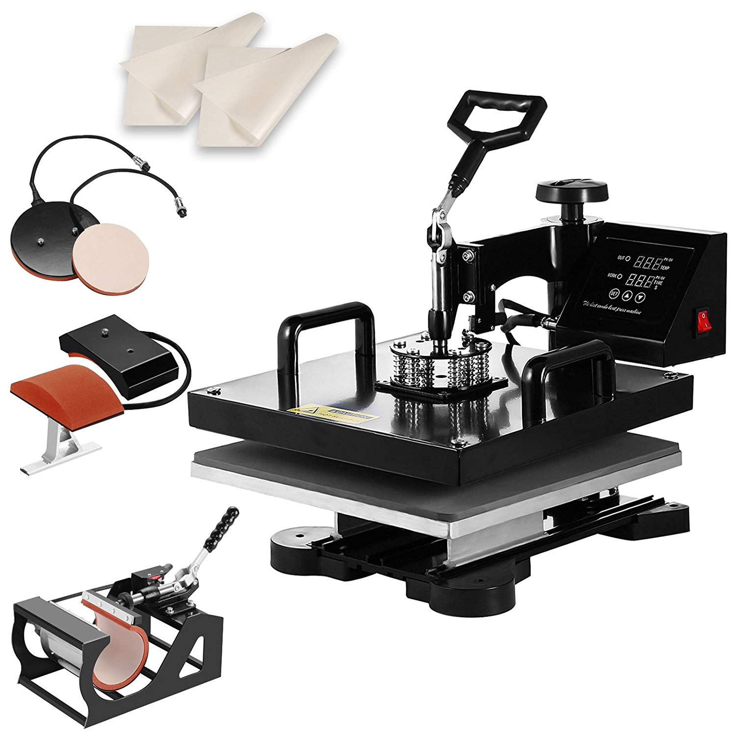 "SHZOND 15"" x 15"" Heat Press Machine 5 in 1 Heat Transfer Machine Multifunctional Swing-Away Heat Press for T Shirts Hat Mug Plate (5 in 1)"
