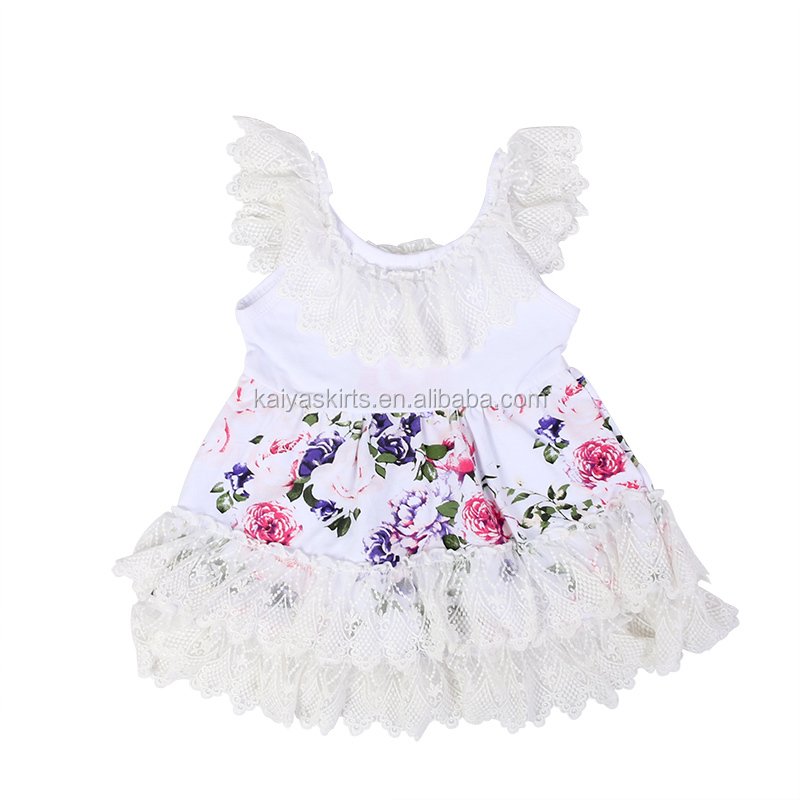 Latest Summer Baby Girls Short Frock Dress Lace Flutter Sleeve Floral Dresses for Children