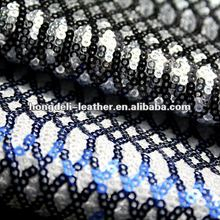 black and white sequin fabric for shoe and bag glitter fabrice shoe material