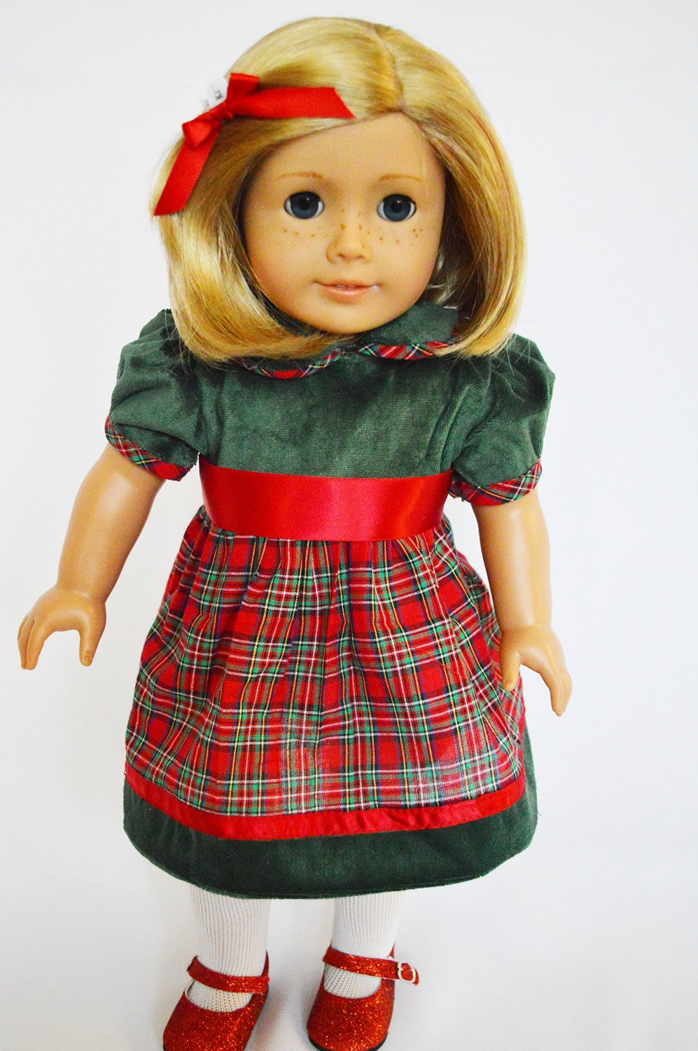 55b9c573a2 get quotations green and red holiday plaid christmas dress for 18 inch  american girl dolls