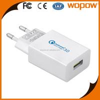 WOPOW USB AC Adaptor Single USB Charger QC3.0 quick charger eu pin