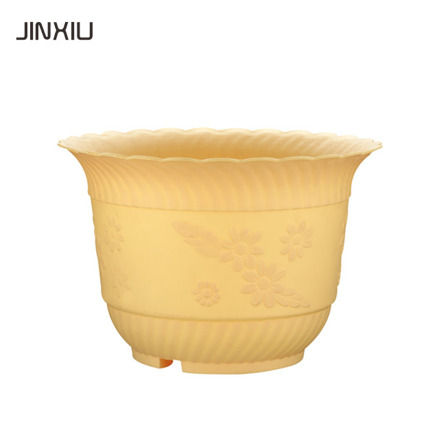 High-grade green plastic pots ceramic color round flowerpot small manufacturing plant