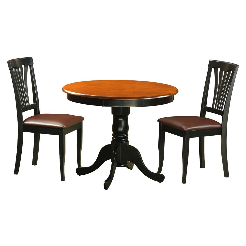 East West Furniture Antique 3 Piece Pedestal Round Dining Table Set with Avon Faux Leather Chairs