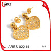 Stainless steel dangle earrings gold earring heart shape earrings