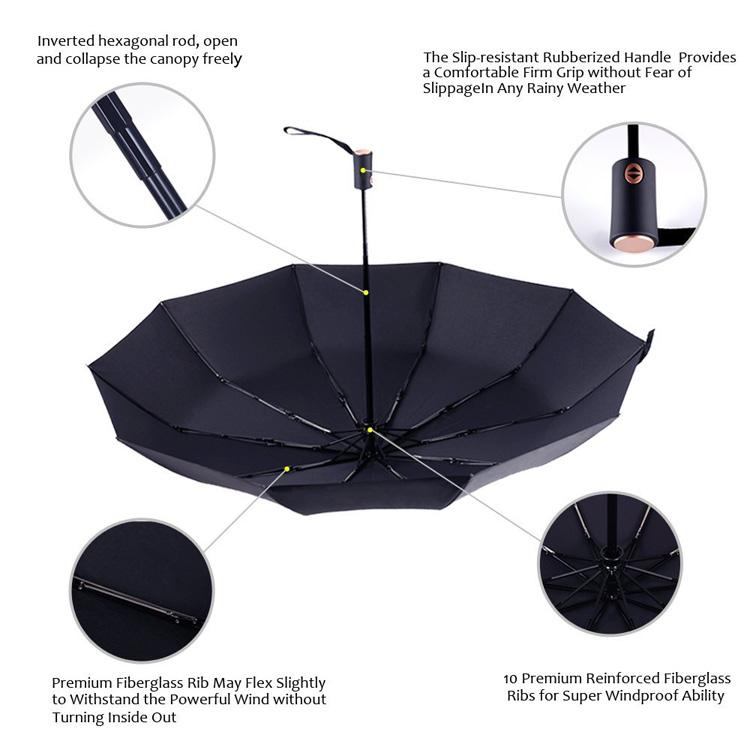 LPKL776 210T Pongee 3 Folding Auto Open Close Advertising Promotion Inverted Reverse Rain Umbrella with Custom Logo Printing