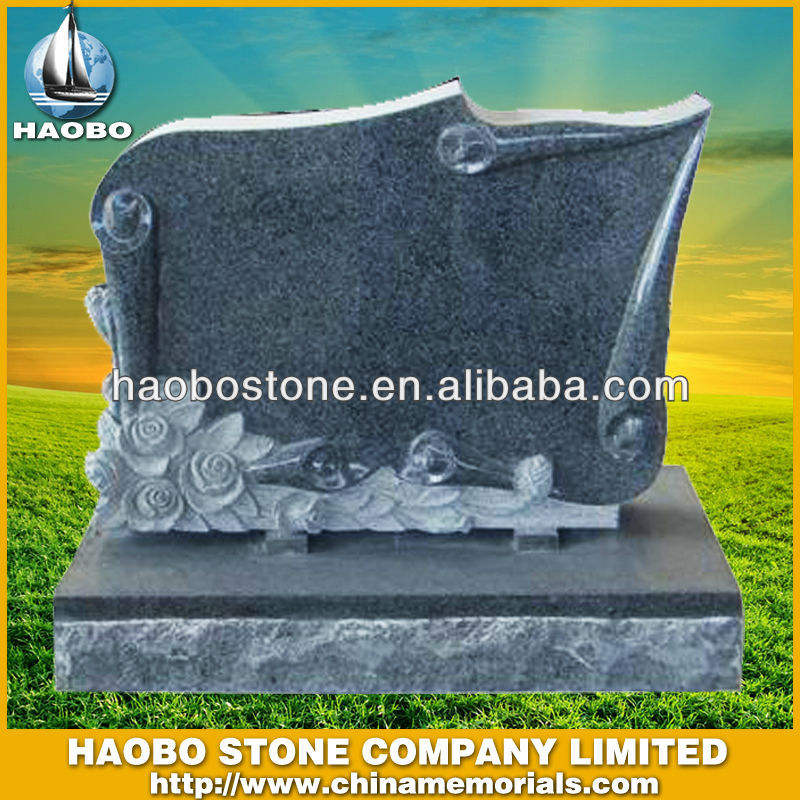 Black Granite Flower Sculptured Monument Manufactured