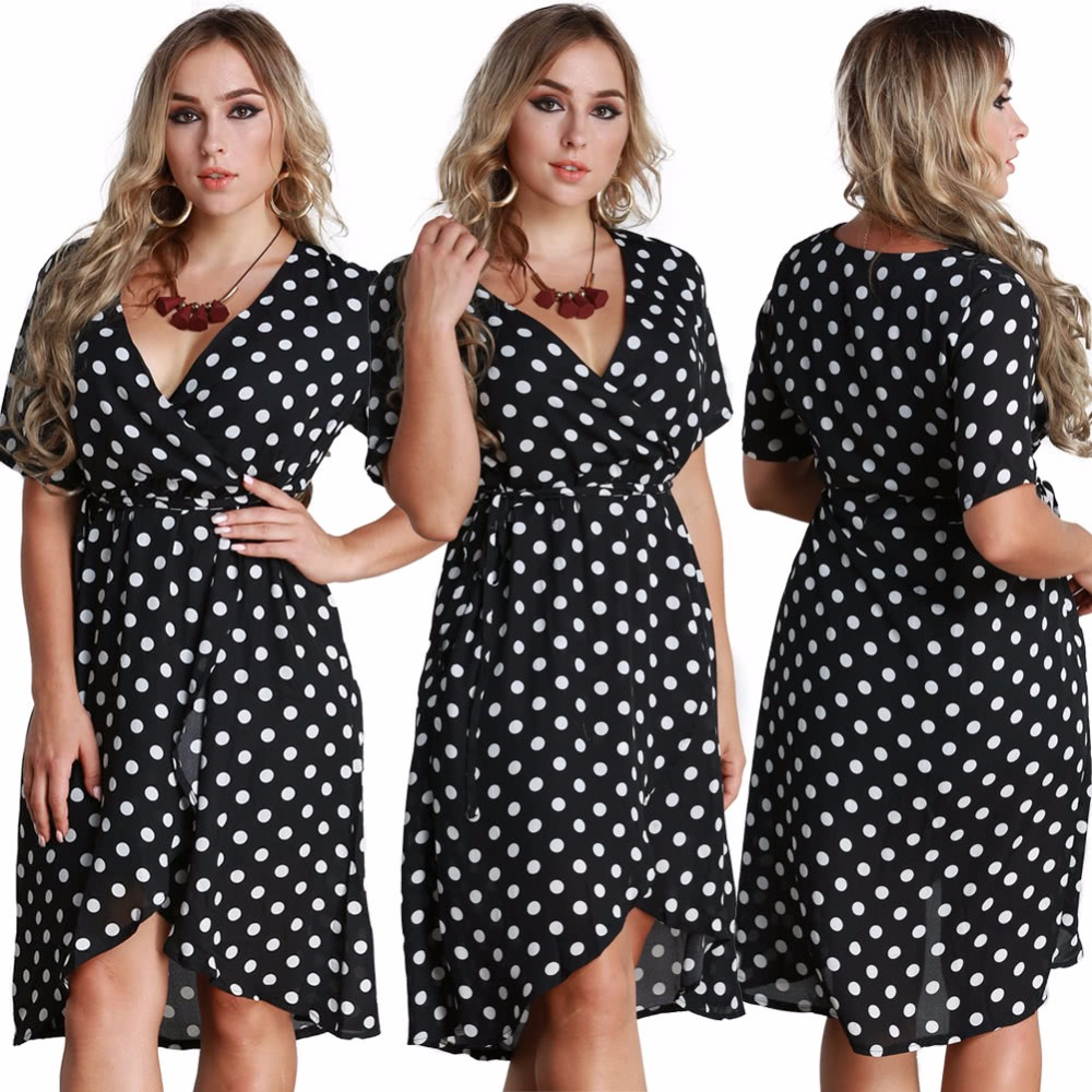 Women Polka Dot Chiffon Dress Deep V Neck Short Sleeves Cross Overlap  Vintage Dress Plus Size Black - Buy Women Polka Dot Chiffon Dress Deep V  Neck ...