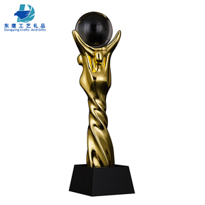 hot fashion resin sport trophy with crystal ball resin eagle trophies sport trophy gift