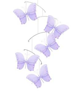 BUTTERFLY MOBILE Ceiling Bedroom Purple Twinkle Lavender Butterflies Decorations