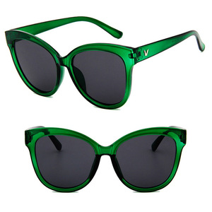 DLL5122 Big Frame Mirror Lens Fashion Cat Eye Sunglasses