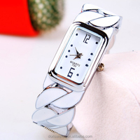 Top quality Fashion Women Round Decorated Bangle Cuff Analog Quartz Bracelet Watch