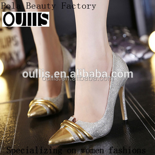2017 simple design fancy ladies shoes prrety gold high <strong>heels</strong> PE3887