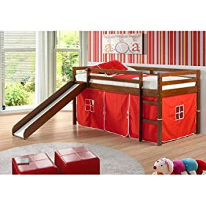 Tent Twin Slat Bed Comes With Slide And Kits Under Solid Pine Wood Construction Integrated Ladder Durable Wax Finish Product Dimensions