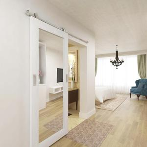 Hilton Hotel Style Wooden Mirror Barn Door with Hardware, Hampton Inn Partition Sliding Mirrored Barn Door Hardware Kit