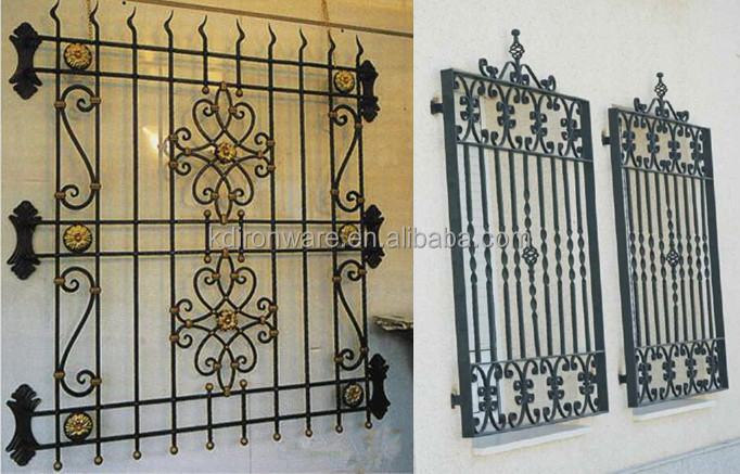 Simple ornamental wrought iron window grill design view for Iron window design house