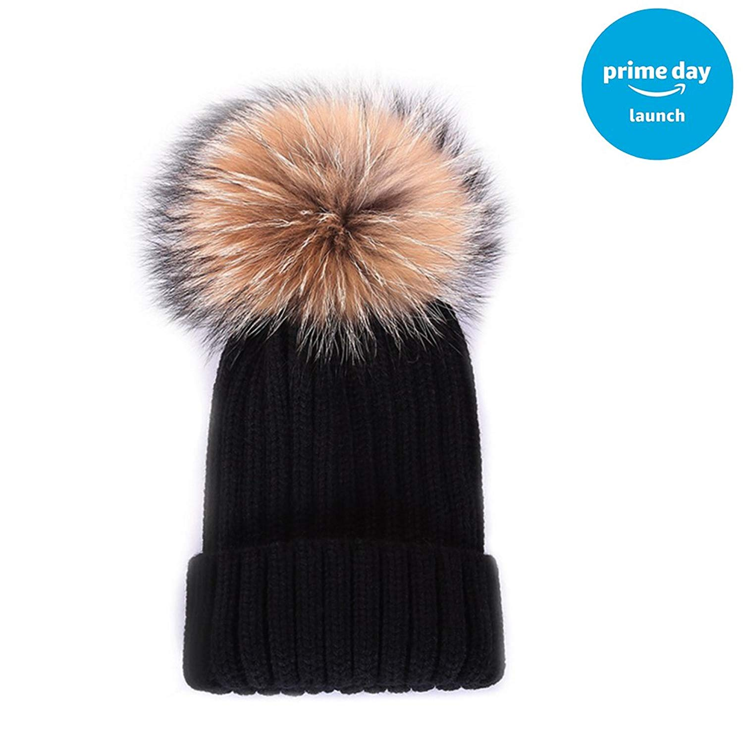 Baby Knit Hat Winter Pom Beanie Hats for Kids Child Knitted Real Raccoon  Fur Pom Pom c9cc5b90a