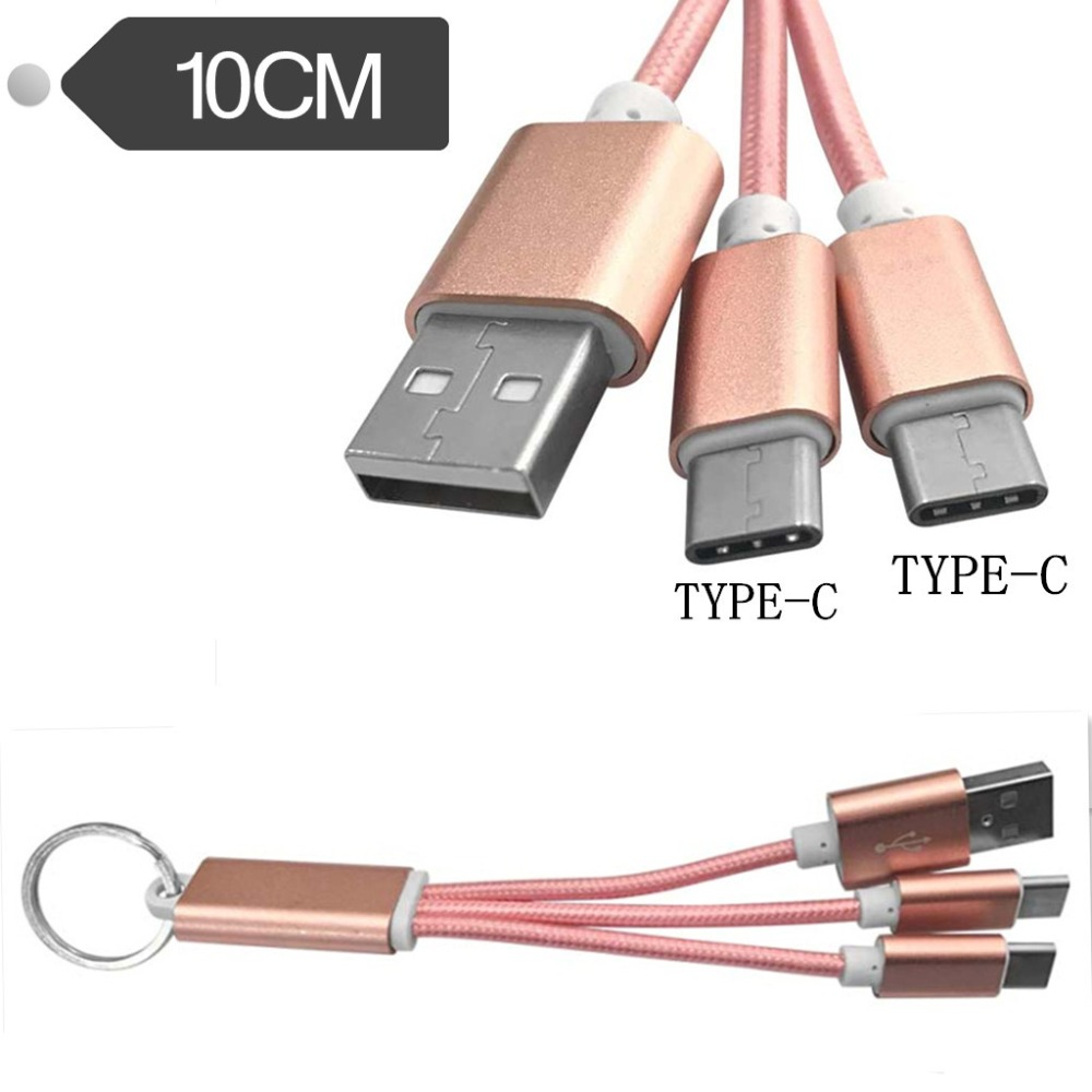 10cm For Fast Shipping usb To Micro+type C Shop For Cheap 2 In 1 Keychain Charger Cable Usb Dual Connectors +micro Usb Usb Type C Keychain Cable By Wpeng